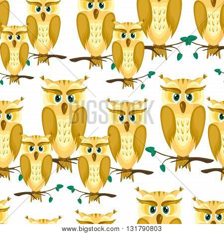 Cartoon a family of owls.Yellow owl with brown feathers and green eyes on the branches with the leaves.Seamless pattern with birds.Vector illustration.Suitable for textiles, fabrics, scrapbooking.