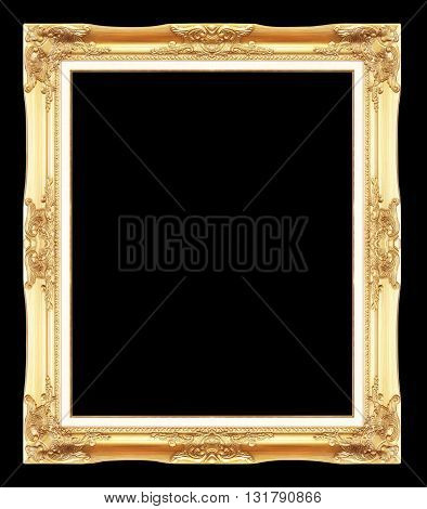 gold antique picture frames. Isolated on black background