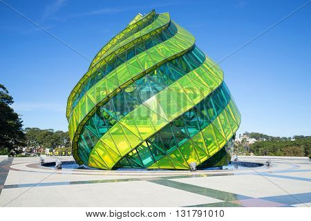 DALAT, VIETNAM - DECEMBER 27, 2015: Skylight in the form of a flower bud of the artichoke in the Lam Vien Square. Main landmark of the city Dalat, Vietnam