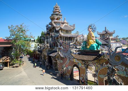 DALAT, VIETNAM - DECEMBER 27, 2015: Modern Pagoda Linh Phuoc in Trime. Religious landmark of the city Dalat