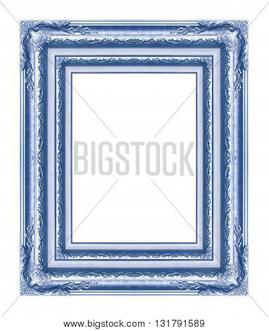 antique blue frame isolated on white background