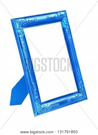 Picture blue frame isolated on white background