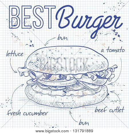Hamburger hand drawn vector llustration realistic sketch. Burger,  recipe on a notebook page