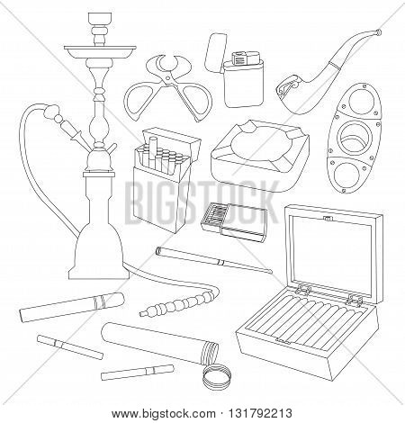Tobacco And Smoking Sketch Set. Hand Drawn Cigarettes, Cigars, Hookah, Matches, Tobacco Leaves, Ceremonial Pipe And Smoking Accessories