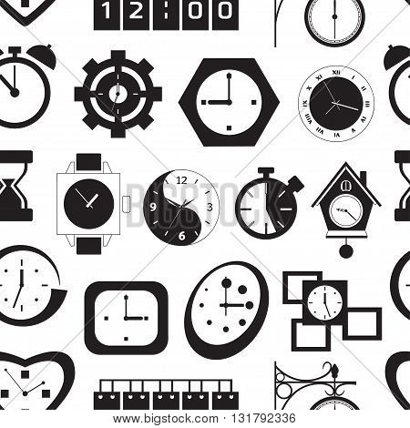 Clock and time pattern over light background vector illustration