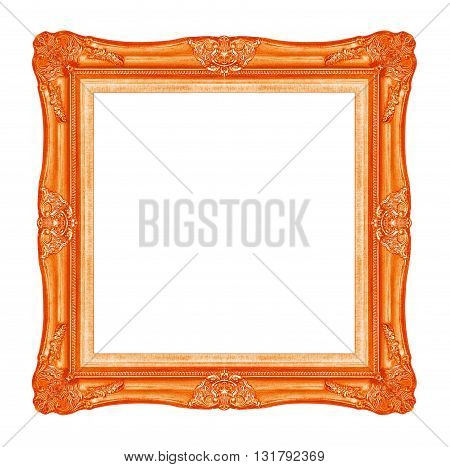 antique red picture frame isolated on white background