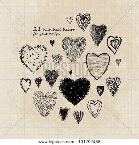 Black and white heart on a sheet of notebook