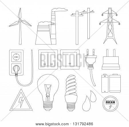 Energy electricity power icons. Vector illustration, EPS 10