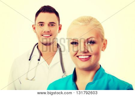 Smile young female and male doctors