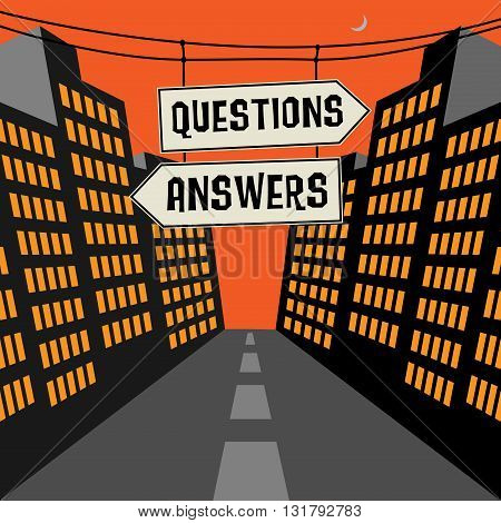 Road sign with opposite arrows and text Questions - Answers, vector illustration