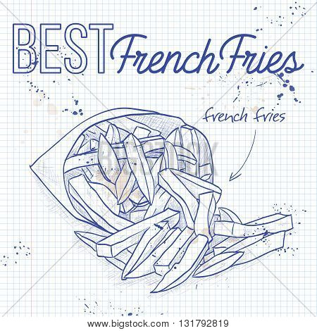 French Fries in Packet on a notebook page. Snacks. Fast food. Vector illustration