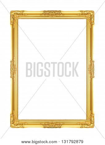 The golden frame Isolated on white background