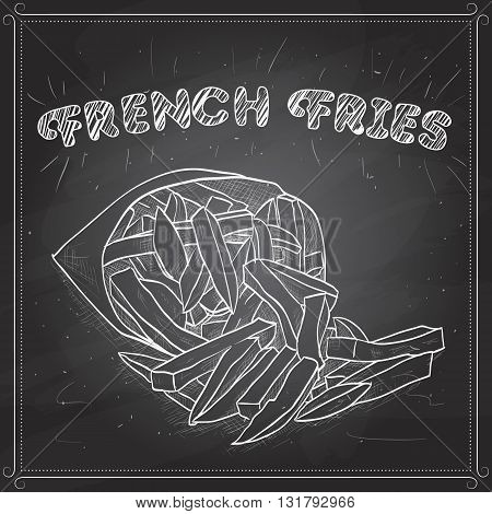 French Fries in Packet on a black board. Snacks. Fast food. Vector illustration