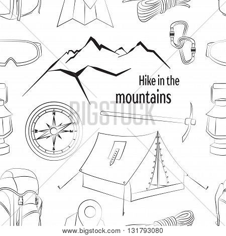 Mountain climbing camping decorative icon set with map rope compass campfire isolated vector illustration. Hike in the mountains pattern