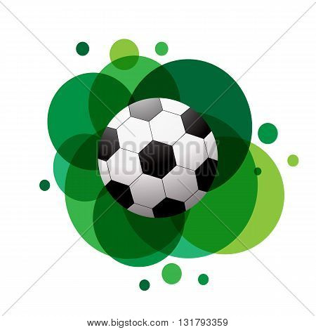 Football soccer ball icon. Flat design. Soccer ball on green abstract background. Vector illustration.