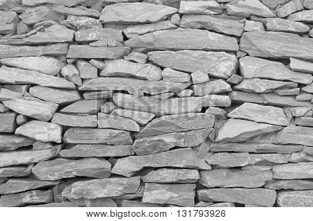 Black and white tone stone wallThe walls are made of stone