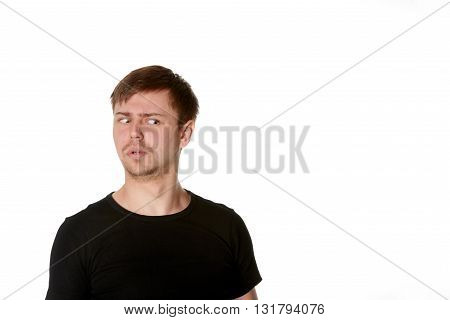 Suspicious young man with beard isolated on white with space for text