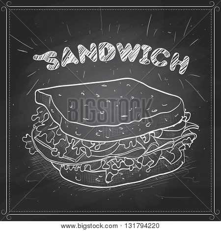 Sandwich scetch on a black board. Vector illustration, EPS 10