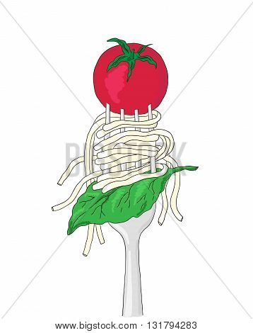 Spaghetti with cherry tomato and Basil leaf on a fork. Hand drawn italian pasta.