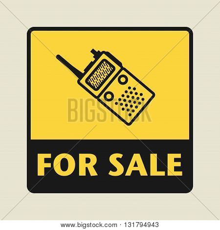 Portable Radio For Sale icon or sign vector illustration