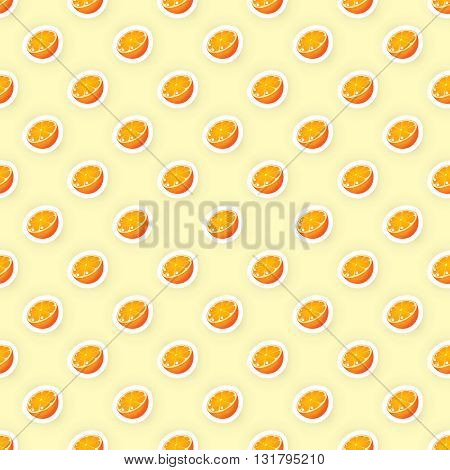 Vector seamless pattern background with orange fruit illustration. Orange fruit seamless pattern. Citrus fruit seamless pattern. Seamless background for packaging design of fruit products.