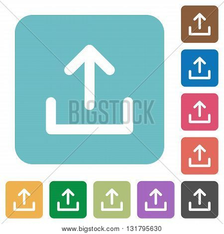 Flat upload icons on rounded square color backgrounds.