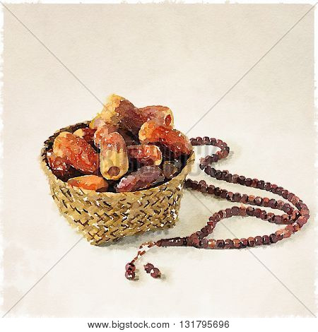 Ramadan dates and rosary. Dates in a palm basket with prayer beads. Water color fine art image.