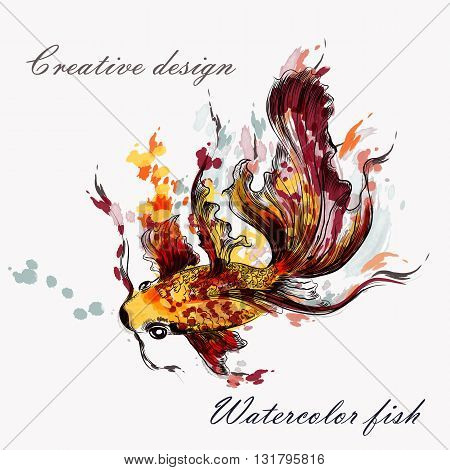 Beautiful hand drawn goldfish in watercolor style from ink spots
