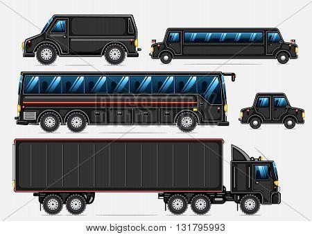 Set of five black transport on white background