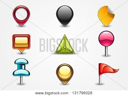 Set of nine colored navigation signs on white background