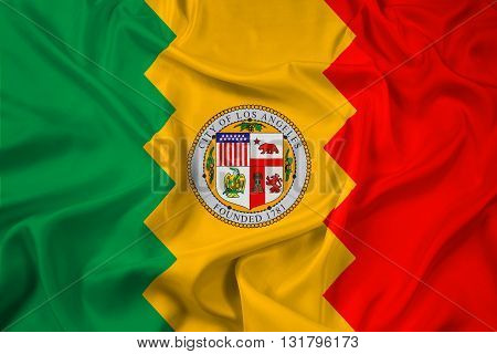Waving Flag of Los Angeles California, with beautiful satin background