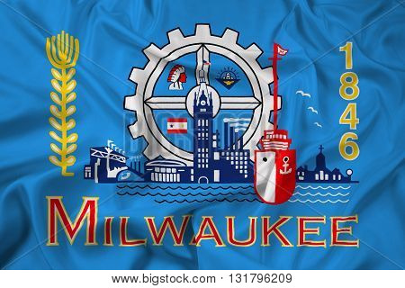 Waving Flag of Milwaukee Wisconsin, with beautiful satin background