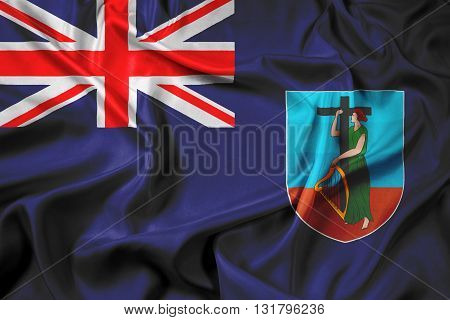 Waving Flag of Montserrat, with beautiful satin background