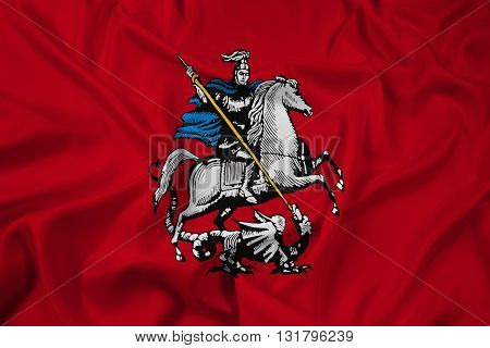 Waving Flag of Moscow, with beautiful satin background