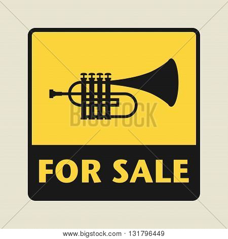 Music Equipment For Sale icon or sign vector illustration