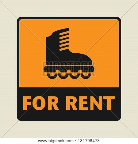 Roller blades For Rent icon or sign vector illustration