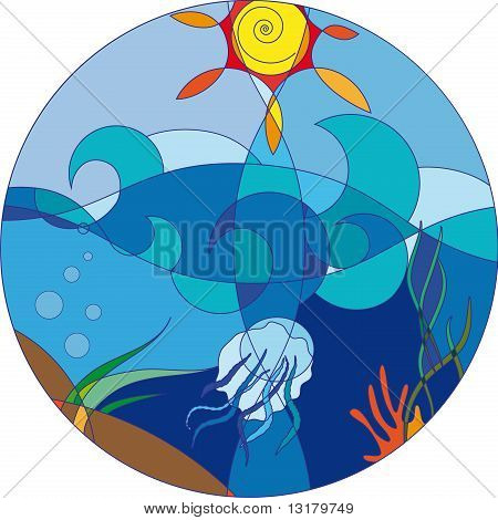 Sea On A Sunny Day With A Jellyfish And Marine Plants