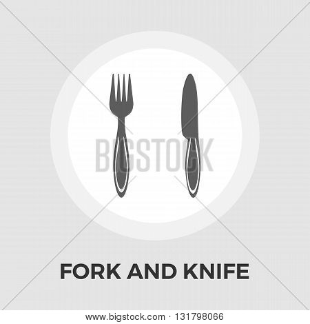 Knife and fork icon vector. Flat icon isolated on the white background. Editable EPS file. Vector illustration.