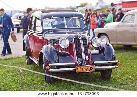 KYIV UKRAINE - April 22 2016: Car BMW 321 is presented at the festival of vintage cars OldCarLand-2016 in Kiev.