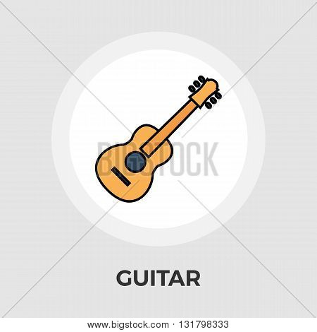 Guitar icon vector. Flat icon isolated on the white background. Editable EPS file. Vector illustration.