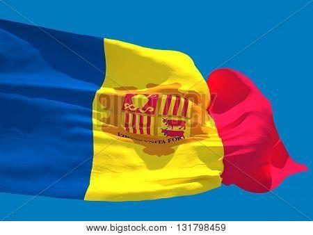 Andorra wave flag HD Principality of Andorra