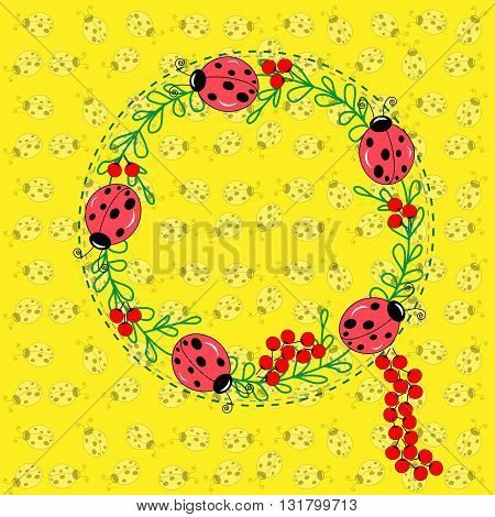 Frame ladybug on twig illustration seamless texture and frame with ladybirds and leaves and red berries on twig