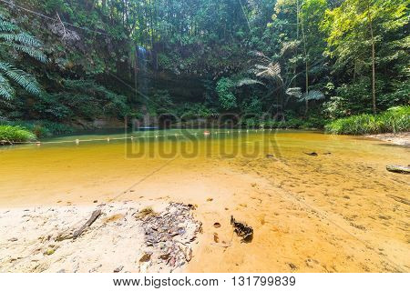 Dreamy Multicolored Natural Pool Hidden In The Dense And Umid Rainforest Of Lambir Hills National Pa