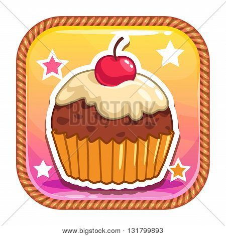 App icon with cute sweet cartoon cupcake, pretty vector asset for web or game design, cake store logo element, gui asset