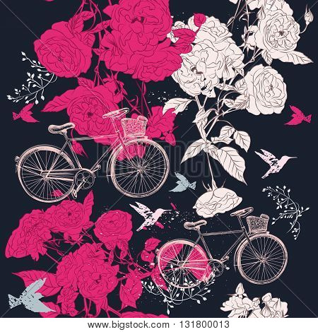 Fashion seamless pattern or save the date card with bicycle and roses in vintage style your style