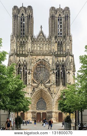 REIMS, FRANCE - MAY 15, 2013: This Reims Cathedral which since the late Middle Ages was the site of the coronation of nearly all French monarchs.