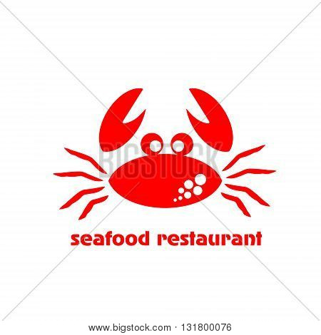 Seafood restaurant logo illustration logo restaurant sea red crab meal on a white background with the inscription