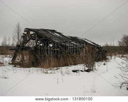 Terrible and scary broken  house a in winter period