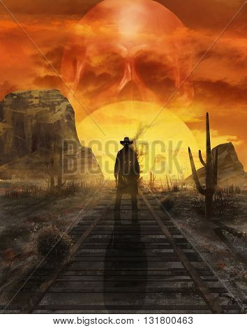 Illustration of a mystic cowboy ghost standing on a western desert railroad on a sunset with sun in skull shape 3d illustration.