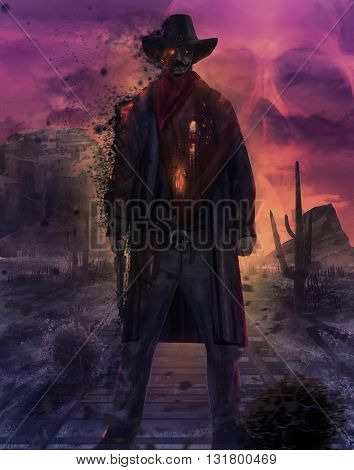 Illustration of a mystic dead cowboy ghost standing on a western desert railroad with gun & outfit on a purple skull sunset 3d illustration.